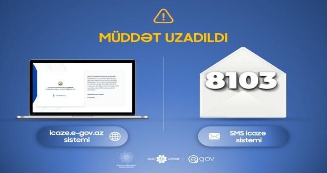 8103 SMS icazə sisteminin qüvvədə olma müddəti uzadıldı - RƏSMİ