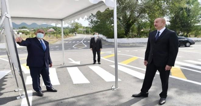 Prezident İlham Əliyev yenidən qurulan Balakən-Qazbinə-İtitala avtomobil yolunun açılışında iştirak edib