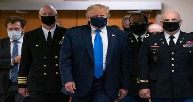 ABŞ Prezidenti Donald Tramp koronavirus pandemiyası dövründə ilk dəfə tibbi maskada görünüb - FOTO/VİDEO