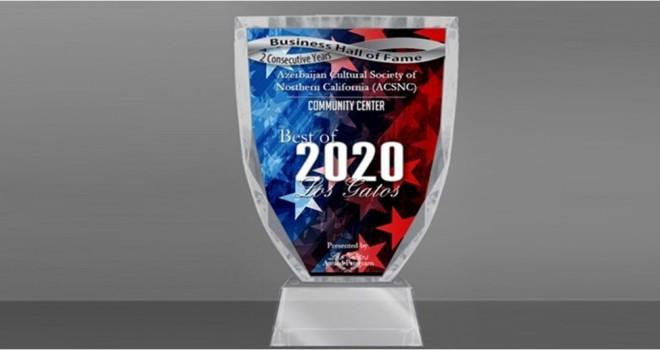 """Şimali Kaliforniya Azərbaycan Mədəniyyət Cəmiyyəti """"Best of Los Gatos-2020"""" mükafatını alıb"""
